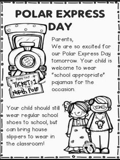 Polar Express activities:  FREE note home to parents about Polar Express PJ day. Cute idea.