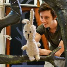 Sam and Stanley the Rabbit in rehearsals ©Tall Stories