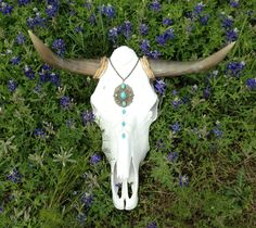 Shabby Chic Bluebonnet Cow Skull with Turquoise Stones and Pearls.
