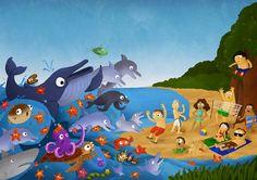 Chris Vosters' Illustratieblog - Save The Oceans - chrisvosters.blogspot.com Oceans, Illustrations, Drawings, Painting, Art, Art Background, Illustration, Painting Art, Kunst