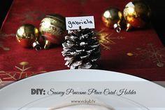 DIY: Snowy Pinecone Place Card Holder - Vicky B. TV