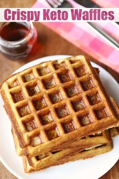 Lightest keto waffles I've had yet! These almond flour keto waffles are crispy on the outside, tender and fluffy on the inside. They taste just like wheat flour waffles, so good! Low Carb Waffles, Healthy Waffles, Gluten Free Waffles, Keto Pancakes, Almond Flour Waffles, Almond Flour Recipes, Almond Meal, Low Carb Breakfast, Pancake