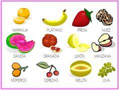 Las frutas y sus nombres para imprimir Buscando figuras o fichas de verduras y frutas y alimentos con sus nombres encontré estas y me ayudaron a hacer las tareas de mi hija de 6 años, en este blog …