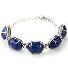 Oval Lapis Lazuli Gem Stone Beads Bracelet Chain Link Gift