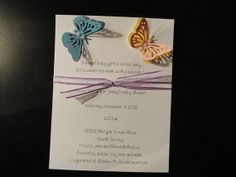 Set of 4 Handmade Butterfly Baby shower Invitations by WordsFrom