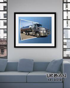 One Stack Mack Semi Truck Wall Art  Framed Fine Art  Modern
