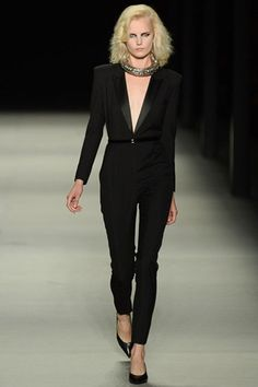 Le smoking jumpsuit makes a comeback at YSL PFW-- hideous necklace however.