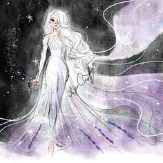 Snow Queen Elsa Art Print by jorjevanelle Arte Disney, Disney Fan Art, Disney Magic, Punk Disney, Princesa Disney Frozen, Disney Princess Frozen, Elsa Frozen, Disney Princesses, Fantasia Disney