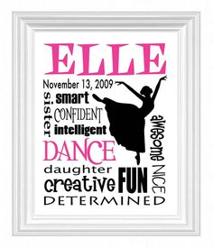 DANCER Girl's Room Wall Art  Personalized by KreationsbyMarilyn, $15.00