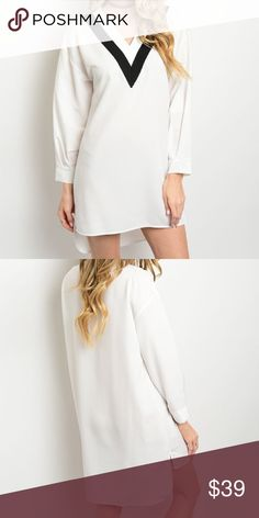 "☀️SALE☀️Simply Chic Hi low White Dress This lightweight woven dress features long sleeves, a v-neckline outlined in a contrast color and has a hi-low hem. 100% polyester  Measurements for small: Length: 31"" Bust: 42"" Waist: 44"". Can be worn as a tunic too! Bchic Dresses High Low"