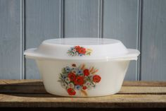 Retro Pyrex Arcopal France white glass casserole turrine dish and lid : gb14 via Etsy