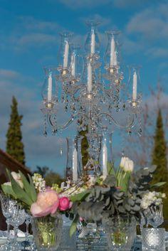 sparkling wedding, crystal candelabras Wedding Set Up, Sparkle Wedding, Plan Your Wedding, Luxury Wedding, Wedding Reception, Crystal Candelabra, Wedding Decorations, Table Decorations, Greece Wedding