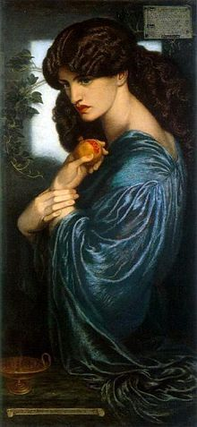 Proserpine: Also Proserpina, Persephone; a daughter of Zeus and Demeter, abducted by Hades to be queen of Underground, but allowed to return to the surface of the earth for part of the year (she is also a personification of spring) ---Dante Gabriel Rossetti