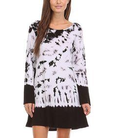Look at this #zulilyfind! Black & White Tie-Dye Back-Cutout Dress #zulilyfinds