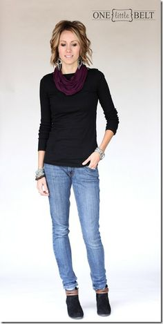 Infinity Scarf: Instead of buying a specific looped scarf, I tie the ends of my scarves together to create an infinity scarf shape. Just be sure to hide the tails into the body of scarf behind your neck.