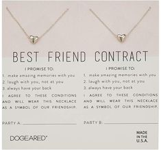 Dogeared Best Friend Contract, Set of 2 Heart Bead Necklaces Necklace Cute Best Friend Gifts, Bestie Gifts, Birthday Gifts For Best Friend, Presents For Friends, Cute Gifts, Best Friends, Present For Best Friend, Best Friend Things, Best Friend Christmas Gifts