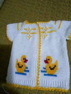 Various Tunisian Baby Knitting Patterns - Babykleidung Baby Knitting Patterns, Knitting Charts, Knitting Designs, Crochet Patterns, Crochet Bebe, Crochet For Kids, Easy Crochet, Crochet Toys, Baby Outfits