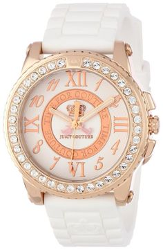 women watches  Watches in white  Juicy Couture Women's 1900792 Pedigree White Jelly Strap Watch