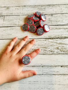 1 Inch Hypno ring buttons on elastics. Set of 12 Captain Underpants Hypno Rings. Steel button parts Mylar Photo Paper Ink Elastic bands