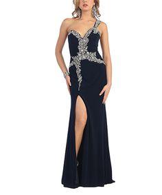Look at this #zulilyfind! Navy Rhinestone-Wrap Side-Slit Asymmetrical Gown by MayQueen #zulilyfinds