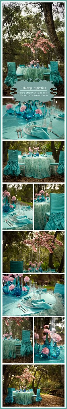 Extravagant but love the color and texture combos!!!! aqua wedding #wedding #teal details