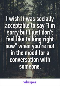 """I wish it was socially acceptable to say """"I'm sorry but I just don't feel like talking right now"""" when you're not in the mood for a conversation with someone."""