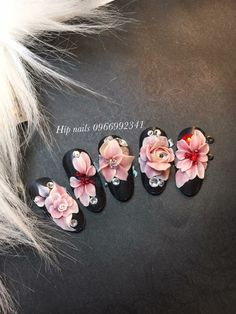 3d Acrylic Nails, Gel Nail Art, Beautiful Nail Art, Gorgeous Nails, 3d Flower Nails, 3d Nail Designs, Nail Art Hacks, Nail Decorations, Stylish Nails