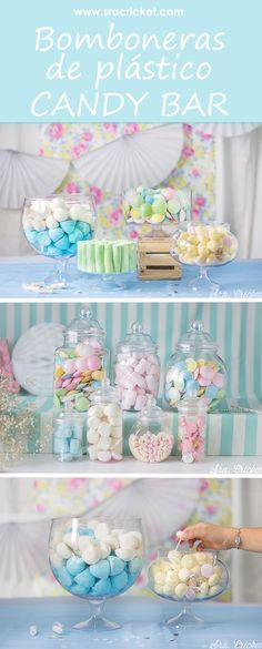 Boles, bomboneras y cuencos de plástico para candy bar - Doğum günü , Candy Bar Party, Candy Table, Candy Buffet, Birthday Party Decorations, Birthday Parties, Pastel Party, Candy Bowl, Wedding Catering, Unicorn Party