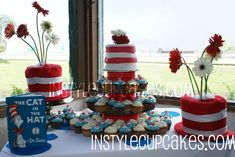 Dr. #Seuss Party #cupcakes #hat with flowers center pieces  Now I have way to many ideas LOL Help!