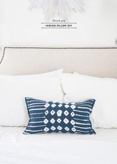 indigo pillow diy with a bleach pen