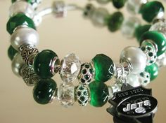NY Jets NFL European Charm Bracelet Green by OnIslandTimeJewelry, $31.00