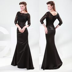 Vintage Long Mermaid Lace Party Bridesmaids Gown Evening Formal Ball Prom Dress | eBay