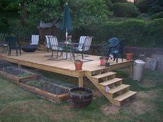 Garden idea for sloping lawn
