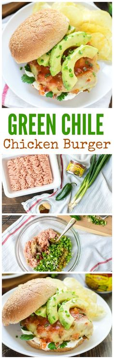 How to make green Chile chicken burgers. Green Chile Chicken Burgers — so MOIST and EASY! Smothered with cheese, avocado, salsa, and sour cream. You will love this healthy recipe! Grilled Chicken Burgers, Turkey Burgers, Veggie Burgers, Turkey Recipes, Dinner Recipes, Onigirazu, Clean Eating, Healthy Eating, Healthy Food