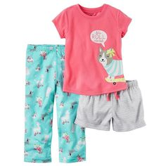 Baby Girl Carter's Graphic Tee, Striped Shorts & Print Pants Pajama Set, Size: 24 Months, Ovrfl Oth