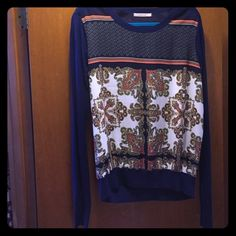 Zappa printed Mixed Material Sweater Beautiful top, great for comfy and stylish look. Never worn. NWOT. 100 % Rayon front, 100% polyester back and sleeves. Fresh and lightweight top for work or play! 41 Hawthorn Tops Blouses