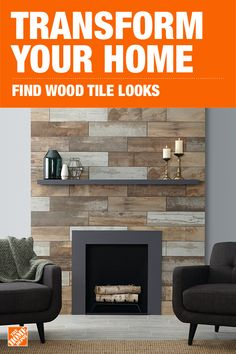 Wood Look - Tile - Flooring - The Home Depot Fireplace Accent Walls, Fireplace Redo, Fireplace Remodel, Fireplace Surrounds, Fireplace Design, Fireplace Mantels, Fireplace Ideas, Mantle, Fireplaces