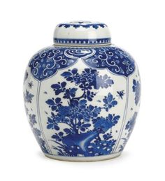 A BLUE AND WHITE GINGER JAR AN