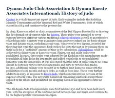 Dyman Judo Club Association & Dyman Karate Associates International: History of judo  - Contest is a vitally important aspect of judo. ource: http://dymanjudoclub.weebly.com/  More on Social Medias: https://foursquare.com/v/dyman-judo-club-association--dyman-karate-associates-international/529293db11d212db48ce6709 http://dymanjudoclub.livejournal.com/  Main Site: http://www.dymanjudoclub.com/