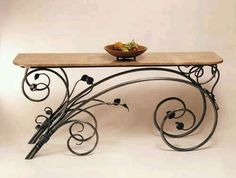 Vict Iron work scroll table