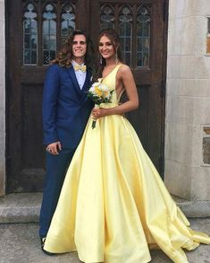 Yellow V neck Satin Prom Dresses, Wedding Party Gowns with Train, Evening Party Gowns, Wedding Guest Dresses, 461 · Loveprom · Online Store Powered by Storenvy V Neck Prom Dresses, Wedding Party Dresses, Homecoming Dresses, Dress Prom, Yellow Prom Dresses, Graduation Dresses, Formal Dresses, Formal Prom, Yellow Dress Wedding