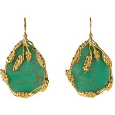 Aurélie Bidermann Francoise bakelite & gold-plated earrings (470 CAD) ❤ liked on Polyvore featuring jewelry, earrings, green, gold plated jewelry, earrings jewelry, gold plated earrings, gold plated jewellery and green jewelry