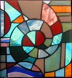 Johannes Itten, Copper foil panel and stained glass Faux Stained Glass, Stained Glass Designs, Stained Glass Patterns, Abstract Shapes, Geometric Shapes, Bauhaus, Decorate Lampshade, Mosaic Glass, Fun Crafts