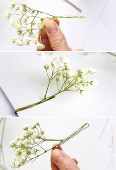 Babysbreath + white flower pin