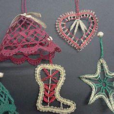 Adornos de navidad encaje de bolillos #bolillos #encajedebolillos#navidad