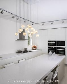 Shell Chandelier - contemporary - Kitchen - New York - Shakúff Glass Ceiling Lights, Glass Chandelier, Contemporary Kitchen, Glass Kitchen Tables, Kitchen Design, Kitchen Island Lighting Modern, Kitchen Island Design, Modern Kitchen Island, Kitchen New York