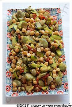 Salade de fèves et de pois chiches au poivron grillé