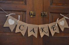 Burlap Cake Banner Great Wedding by AmandaFranceCrafts on Etsy, $10.00
