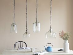 A pretty hanging pendant light with lovely bubbling in the glass. It's made us see cowbells in a whole new light. Glass Pendant Light, Glass Pendants, Pendant Lamp, Pendant Lighting, Glass Kitchen, Kitchen Island, Comfy Sofa, Hanging Pendants, Own Home