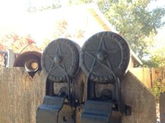 Antique Pair of LARGE Industrial Cast Iron Fire/Barn Door Pulleys/Rollers